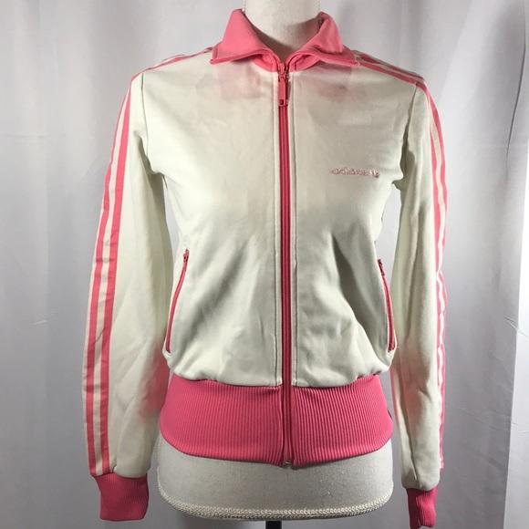 Adidas jackets & Coats Rare Pink blanco Track Jacket Vintage s